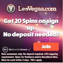Leo Vegas Casino 20 Free Spins no Deposit